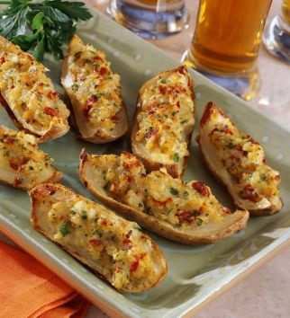 Cheesy Potato Skins with Sun Dried Tomatoes