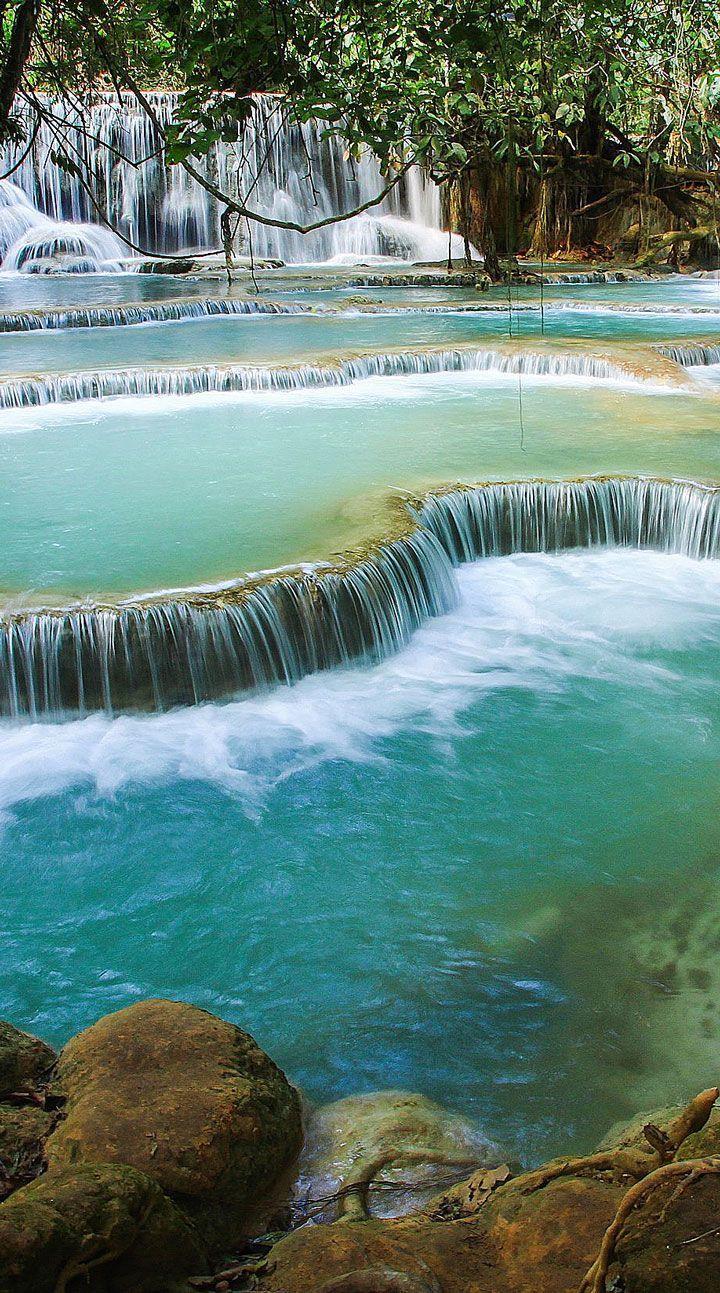 The stunning Kuangsi Waterfalls in Luang Prabang, Laos #Indistay