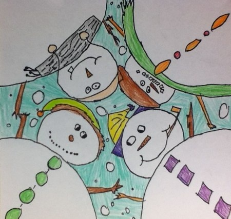 "Emily16911's art on Artsonia Huddle up snowman. In this work of are we explored the idea of drawing from a ""worms eye view"". We answered the focus question, ""What is a worms eye view in drawing?"". (would make a good sub plan)"