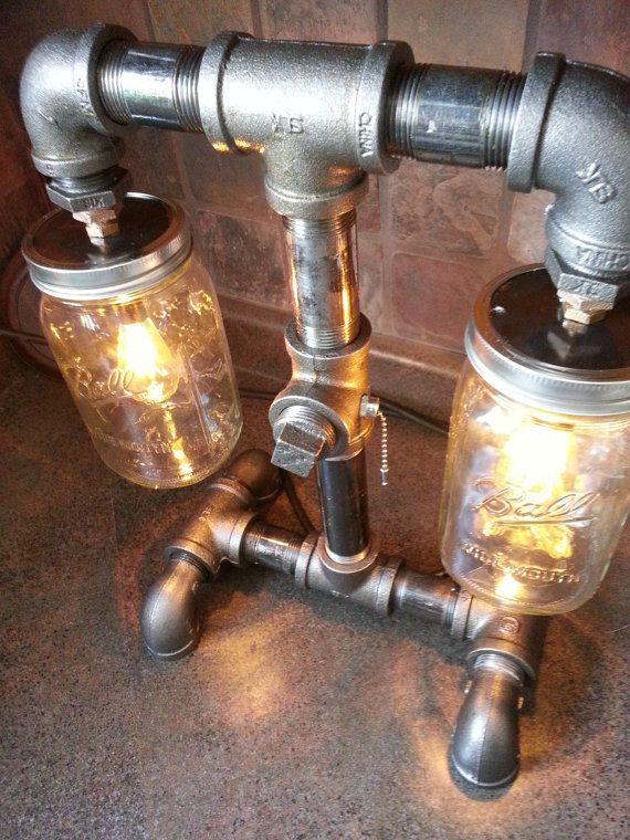 SteamPunk Style Black Iron Pipe Lamp mason jar bar by flamemetals, $185.00