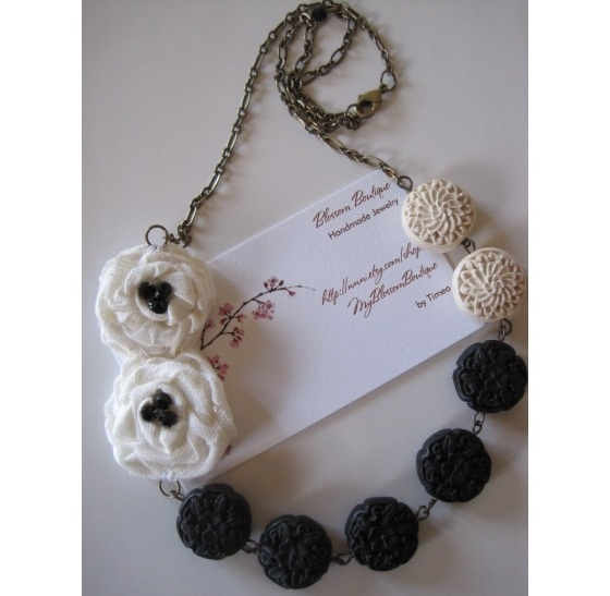 Black and White Necklace with Flower Roses and Cinnabar Craved Stones