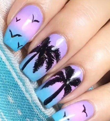 Purple blue ombre palm trees Florida California beach nails