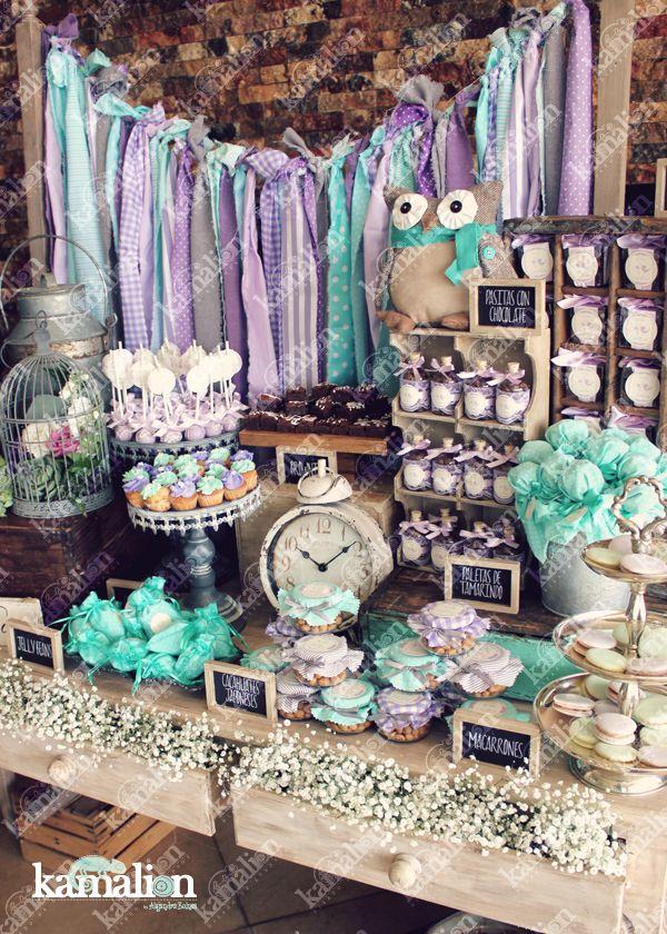 www.kamalion.com.mx - Mesa de Dulces / Candy Bar / Postres / Baby Shower / Menta & Morado / Mint & Purple / Rustic Decor / Dulces / Vintage / Madera / Lecheros / Maletas / Búhos / Owls / Clock / Jaula.