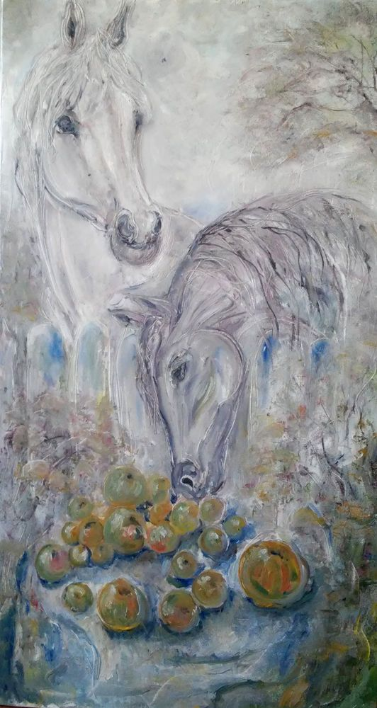 "modern paintings horses and apple Irina Rej size of the picture 35.5 ""19.8"" #Expressionism"