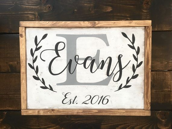 17x13 all wood sign with oak stained frame. Hand painted wood sign with gray last name initial, black last name, established date and laurels. Antiqued to perfection!! **Each sign is handmade, therefore no two will be exactly alike!! ****Item will be shipped 2 weeks from purchase.***