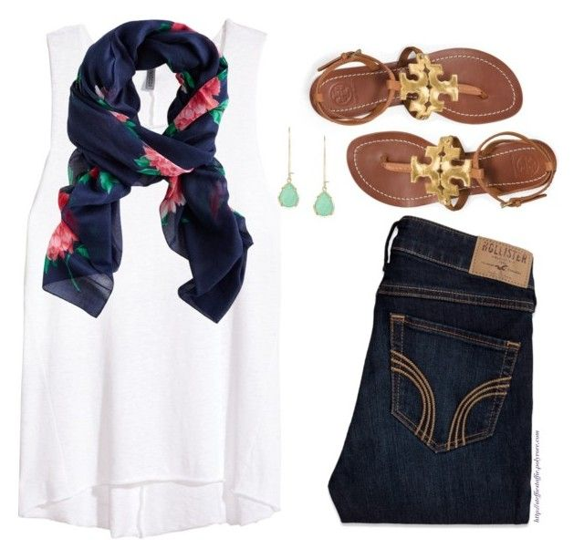 """Peony scarf"" by steffiestaffie ❤ liked on Polyvore featuring Hollister Co., H&M, Joules, Tory Burch and Kendra Scott"