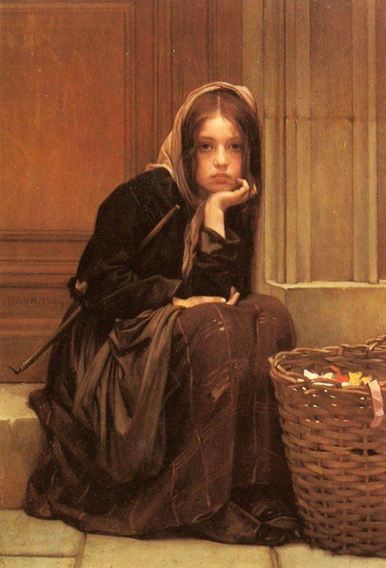 """A Basket Of Ribbons,"" by Norway's Christen Brun, from 1896. The girl's pretty face and the painting's visual polish make it easy to overlook the fact that it's a picture of a (probably homeless) waif, selling ribbons out of the poverty that has tattered her clothing."