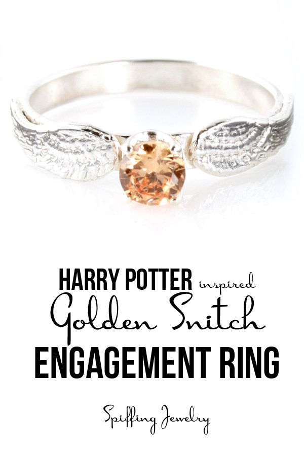 Personalize the inside of this Harry Potter inspired Golden Snitch engagement ring, in sterling silver. Each ring is handmade just for you, by Spiffing Jewelry