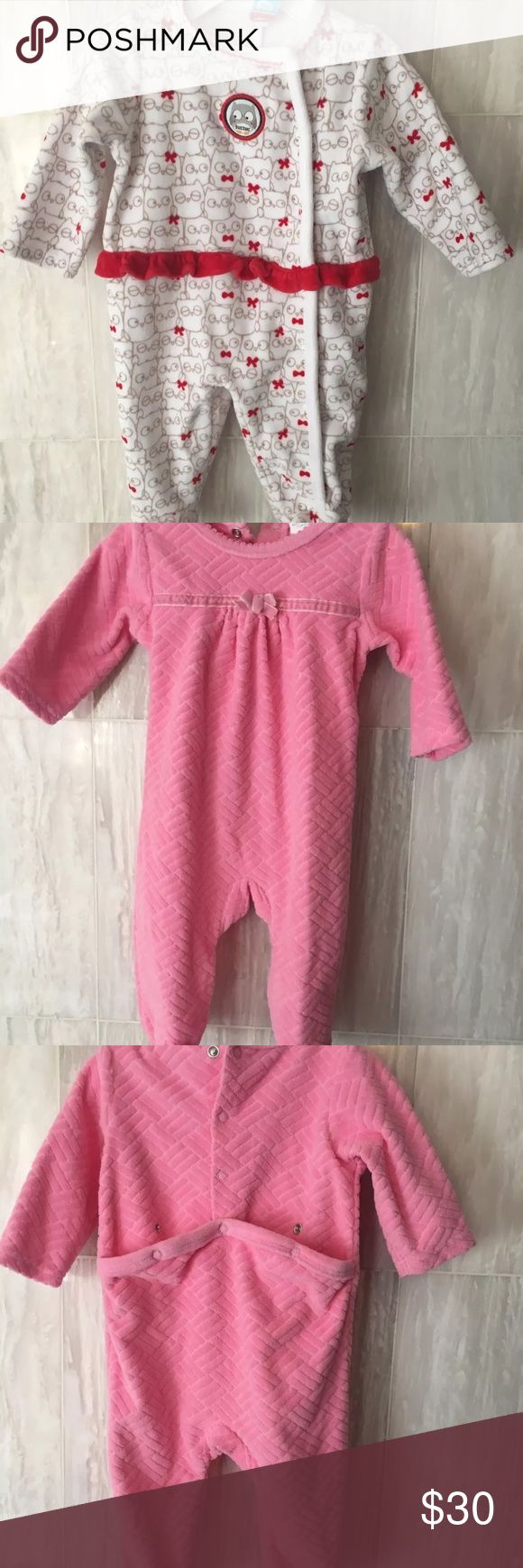 7 Outfits Bundle Girl Velour One Piece Rompers  3m Baby girl velour stretchie one piece rompers. LOT OF 6 BABY GIRL VELOUR ONE PIECE ROMPERS.  •OFFSPRING - 3 MONTHS •CHICCO - 3 MONTHS •TUC TUC - 3 MONTHS •BABY DOVE - 3-6 MONTHS •ABSORBA - 0-3 MONTHS •ABSORBA - 0-3 MONTHS Chico's One Pieces Footies