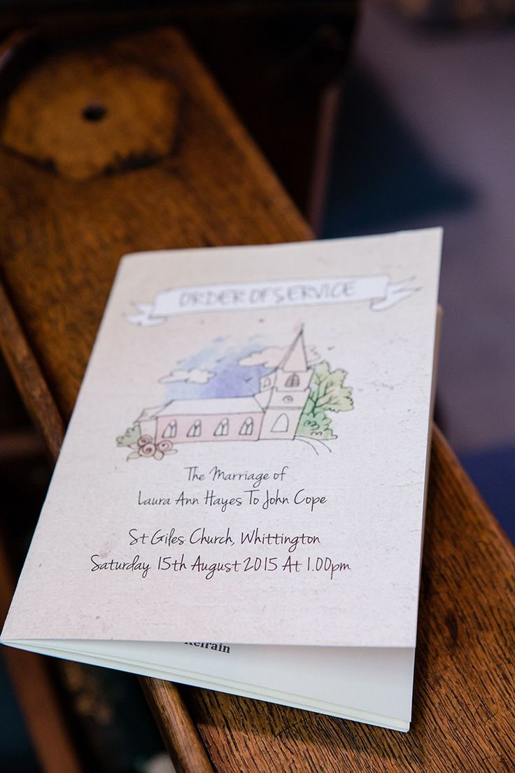Illustrated Order of Service Church Pretty Natural Floral Barn Wedding http://www.johastingsphotography.co.uk/