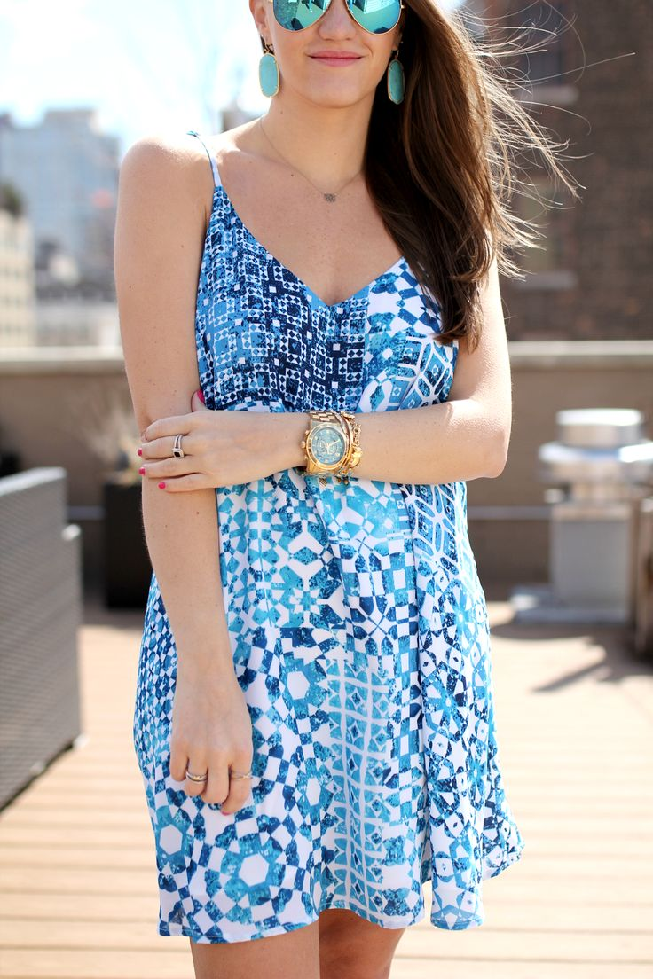 Leith Printed Mini Dress and Tory Burch Pineapple Sandals
