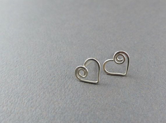 Sterling Silver Heart Stud Earrings Small Heart by WireExpressions