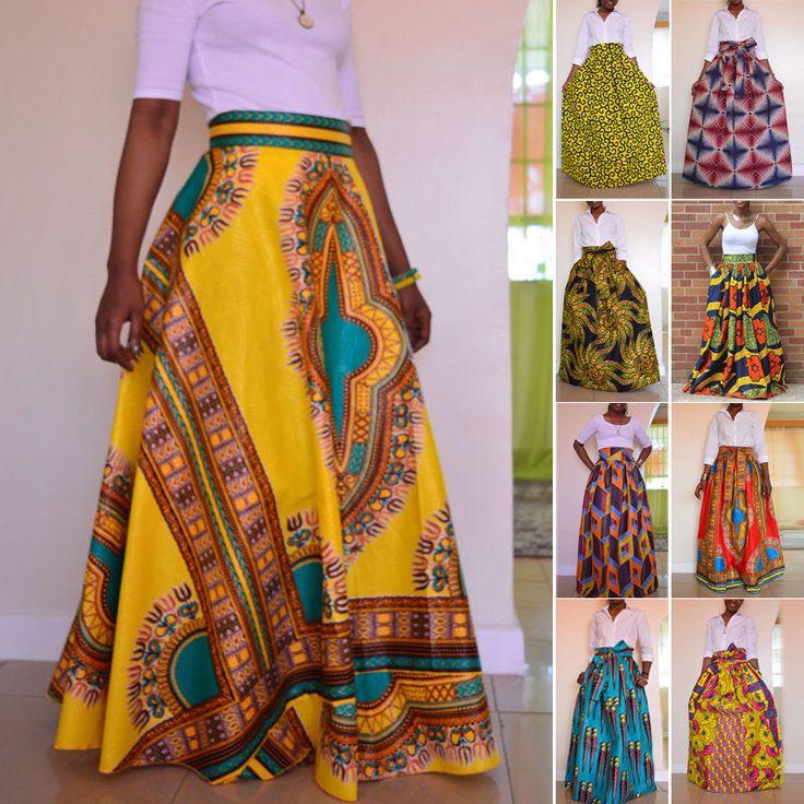 African Women S Print High Waist Party Boho Long Maxi