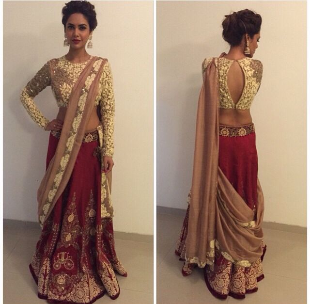 #red #golden #bridal #wedding #lehenga