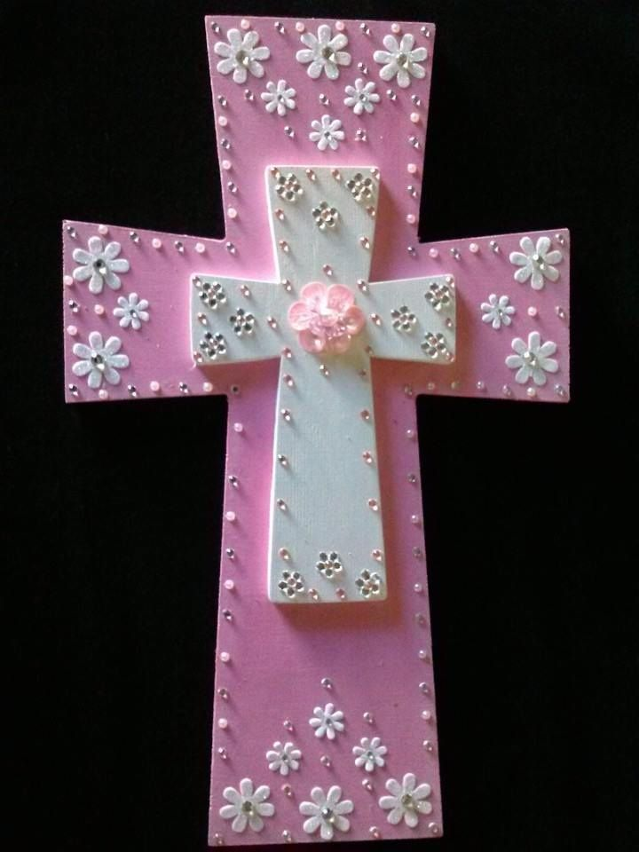 Hand Painted Wooden Crosses. If you would like a custom cross made email sales@handmadebynonny.com If interested in this cross please email and ask for the Pretty In Pink $40.00.