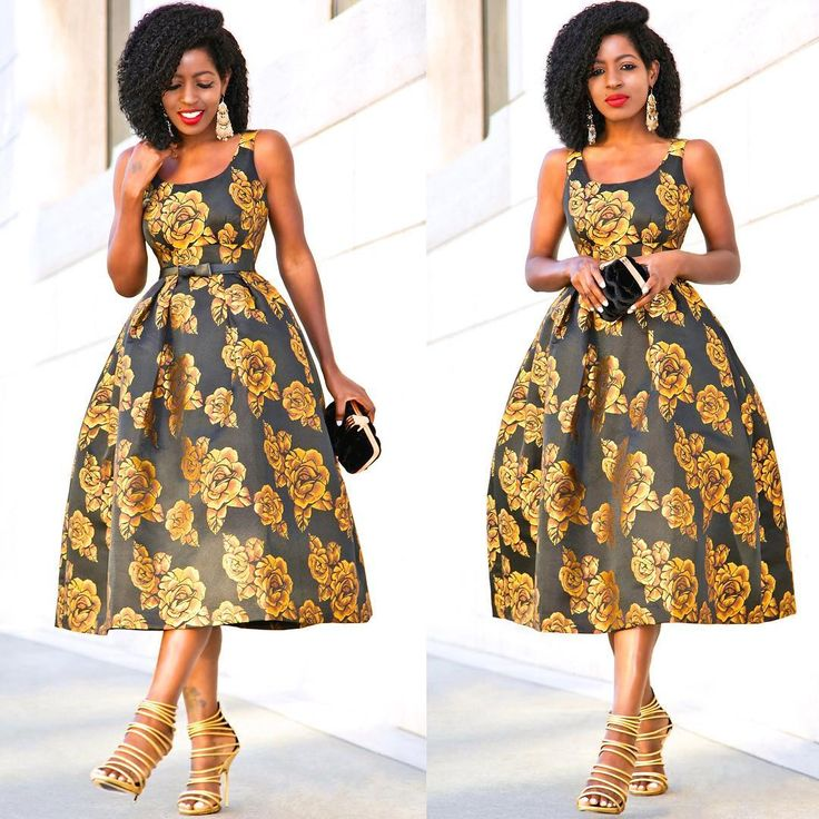"""13.4k Likes, 130 Comments - Folake Huntoon (@stylepantry) on Instagram: """"Golden Rose Midi Dress for daytime. Happy #nye lovers! Link in bio for 'fit details."""""""
