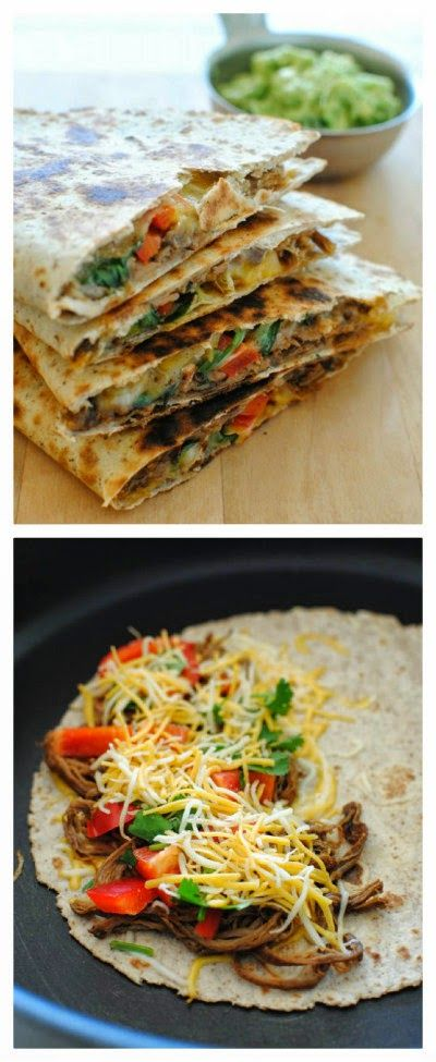 Slow Cooker Chipotle Steak Quesadillas from Bev Cooks; this sounds perfect for a family dinner or game-day eats.  [Featured on SlowCookerFromScratch.com] #SlowCookerFromScratch