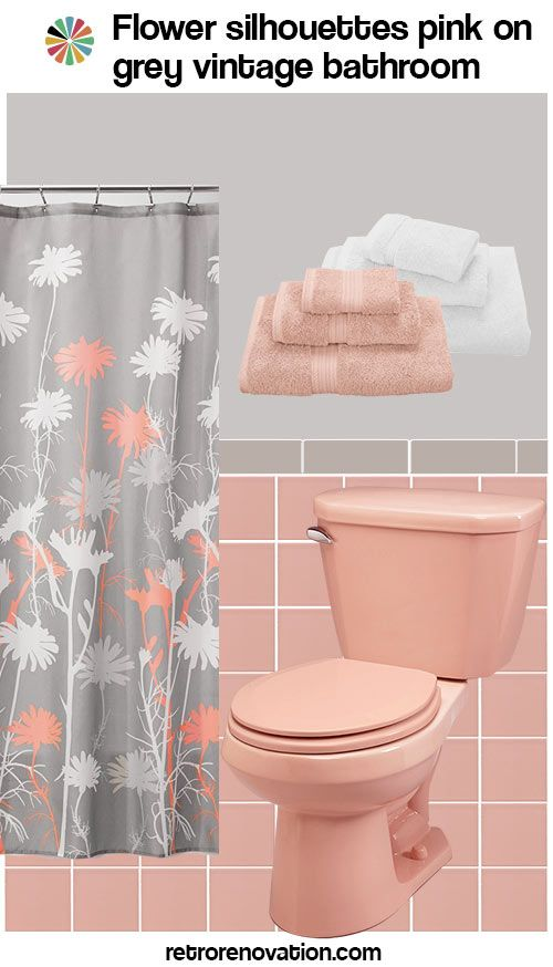 17 best ideas about pink bathroom vintage on pinterest for Pink black bathroom ideas