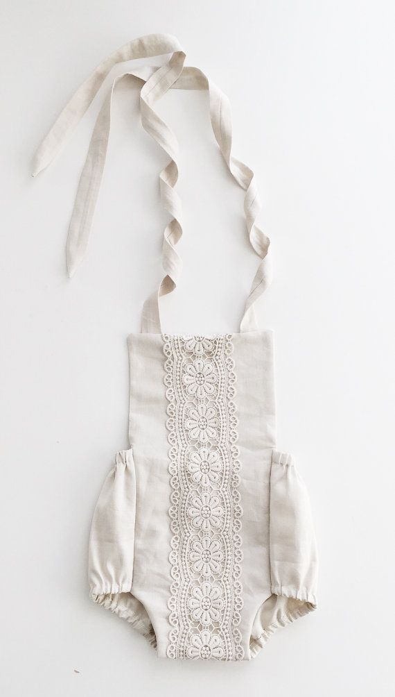 READY TO SHIP: SIZE 18-24M  Halter romper (the L Y D I A) in sand linen fabric, beautifully decorated with floral crochet lace trim. This cross tie