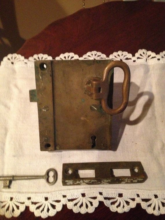 Vintage Antique Door Knob Lock with Working Key and by OpenSaysAMe, $59.00