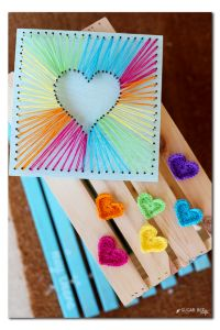 rainbow crocheted hearts and string art tutorial