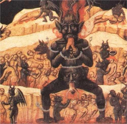 """El Infierno, de """"Paraíso e Infierno"""", siglo XV, Iglesia de San Petronio, Bolonia, Italia (detalle). http://iglesiadesatan.com/"""
