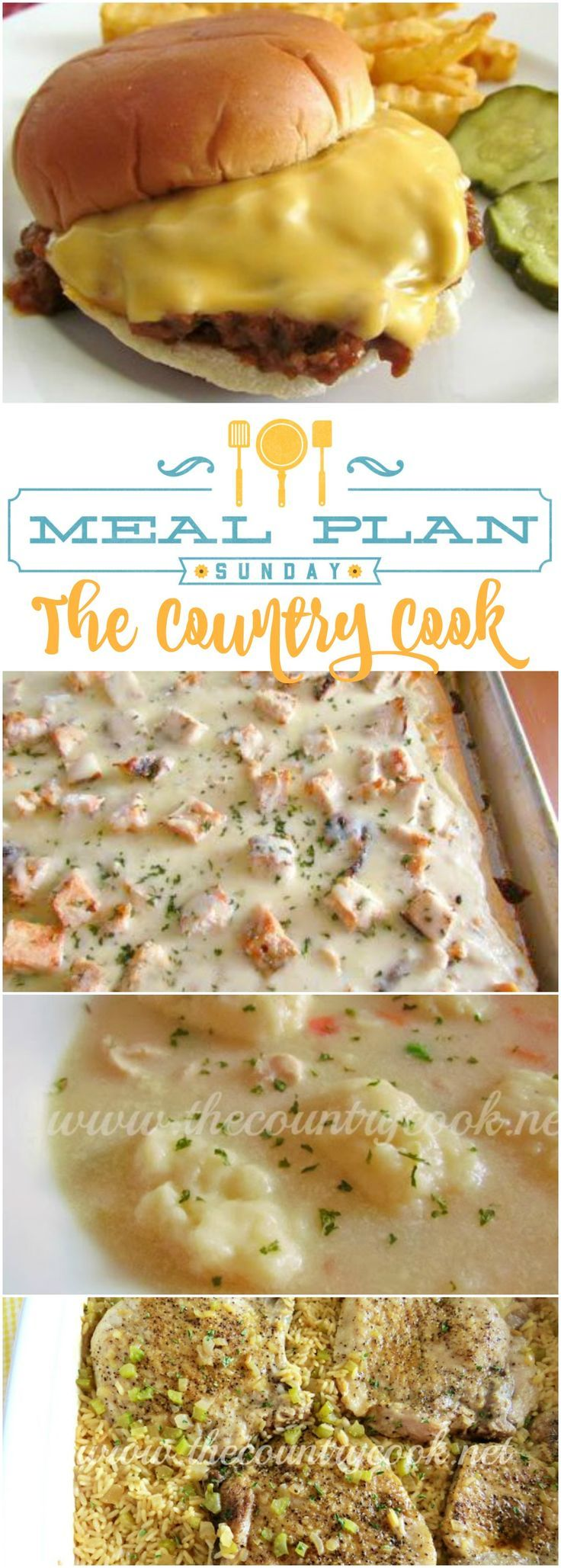 Meal Plan Sunday at The Country Cook. Featured recipes include: Homemade Crock Pot Sloppy Joes, Super Simple Grilled Chicken Alfredo Pizza, Chicken and Drop Dumplings, Baked Pork Chops & Rice, Chicken Parmesan Pizzas, Ramen Skillet Supper and desserts too
