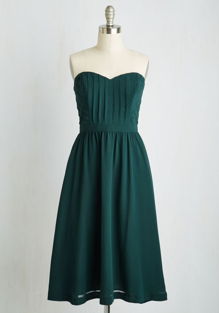 Take a Dance on Love Dress. If youre drawn to the strapless silhouette and swaying skirt of this fancy, forest green dress, take it as fate and wear it to the next fete! #green #wedding #bridesmaid #modcloth