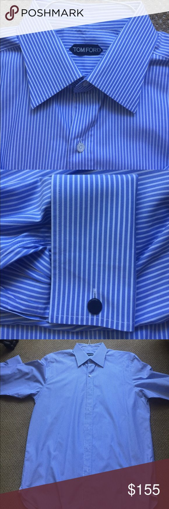 """Tom Ford size 17 blue/white French Cuff shirt Tom Ford French Cuff dress shirt. Size 17/43. Made in Italy from ultra luxurious 100% cotton in classic blue/white stripe. Forward-point collar; button front placket. Sizing: chest 44""""-46"""", neck 17"""", sleeve 35""""-36"""". This is considered an XL. TOM FORD is synonymous with sexy, timeless elegance, superior materials and workmanship. This shirt has hardly been worn & has no holes, stains or visible imperfections. Lowball offers will be rejected. Tom…"""