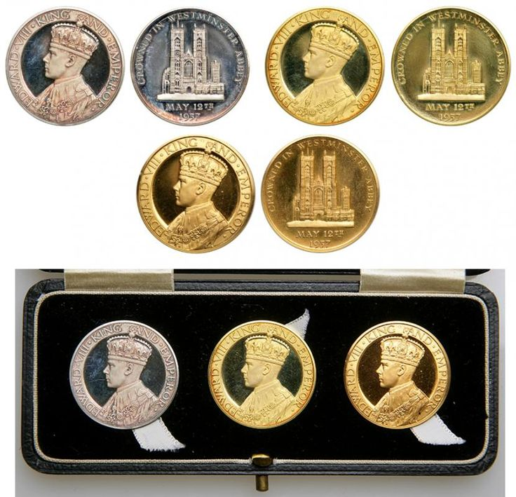Great Britain. Medal Set: Gold, Silver and Golden Alloy, 1936. NGC PF64 Edward VIII Medal Set of 3 proof pieces, gold weight 30.2 grams in (18ct) gold (.925) silver and golden alloy, struck by John Pinches in 1936, with accompanying original box. Obverse has crowned portrait of king wearing regalia, EDWARD VIII KING AND EMPEROR. Reverse features view of Westminster Abbey and legend CROWNED IN WESTMINSTER ABBEY MAY 12th 1937. Each has plain edge. The set is one of only 2 sets made, and an…