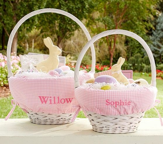 Pink Gingham Easter Basket Liners Pottery Barn Kids