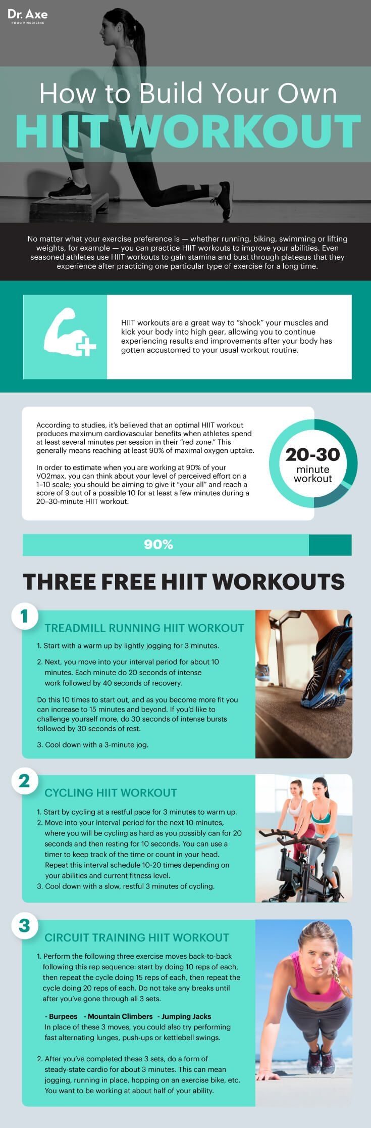 HIIT Workouts Beat Conventional Cardio - Dr. Axe | Bonus Advanced HIIT Workout: Circuit Training HIIT Style! Go through each move described below for an intense 20 seconds, moving very quickly through as many reps as you can perform in 20 seconds, followed by 10 seconds of rest. Then move on to the next move following the same timing. Once you've completed each move below, you are done with one intense interval. Push-ups Bodyweight Rows Squats Jumping Rope Burpees Jumping Jacks Running i