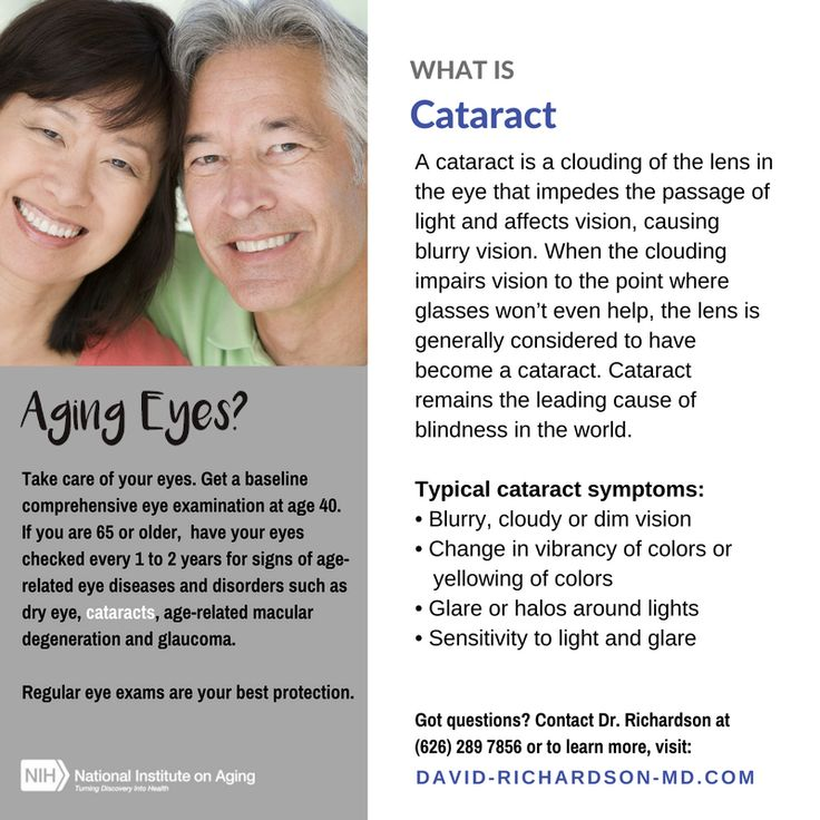 One of the most common Age-Related #Eye Disorders is #Cataract.   For most of our lives, the natural lens is flexible and clear — allowing us to focus on objects both far and near. At around age 45 the lens becomes less flexible and loses its ability to change focus. It becomes difficult to see objects up close. Eventually it hardens and becomes cloudy and discolored. Continue reading... http://david-richardson-md.com/cataracts/cataract-surgery/  #AgingEyes