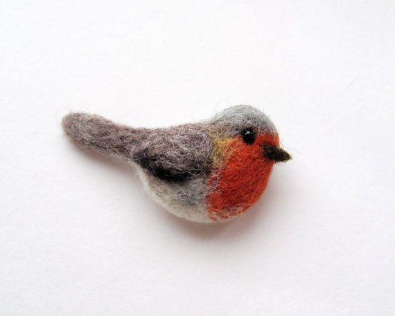 Felted Robin brooch by HandmadeByNovember on Etsy, $20.00