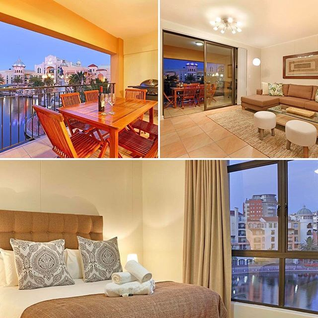 Majorca 206, Century City. Overlooking the serene canal and glittering lights from the nearby Century City mall, this is the perfect #holiday #accommodation in Cape Town.