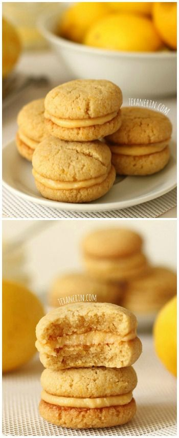 Lemon curd is sandwiched between soft and chewy gluten-free and grain-free lemon cookies in this dairy-free treat! #grainfree #glutenfree #dairyfree #cookies