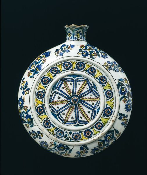 Pilgrim flask | Probably made in Kütahya, Turkey, ca. 1750-1775 | Fritware, polychrome underglaze painted, glazed | The town of Kütahya had a long tradition of making pottery. In the 16th and 17th centuries, it was overshadowed by Iznik, also in Anatolia. But in the 18th century, after the industry in Iznik collapsed, Kütahya became the main centre for fritware production in Turkey | VA Museum, London