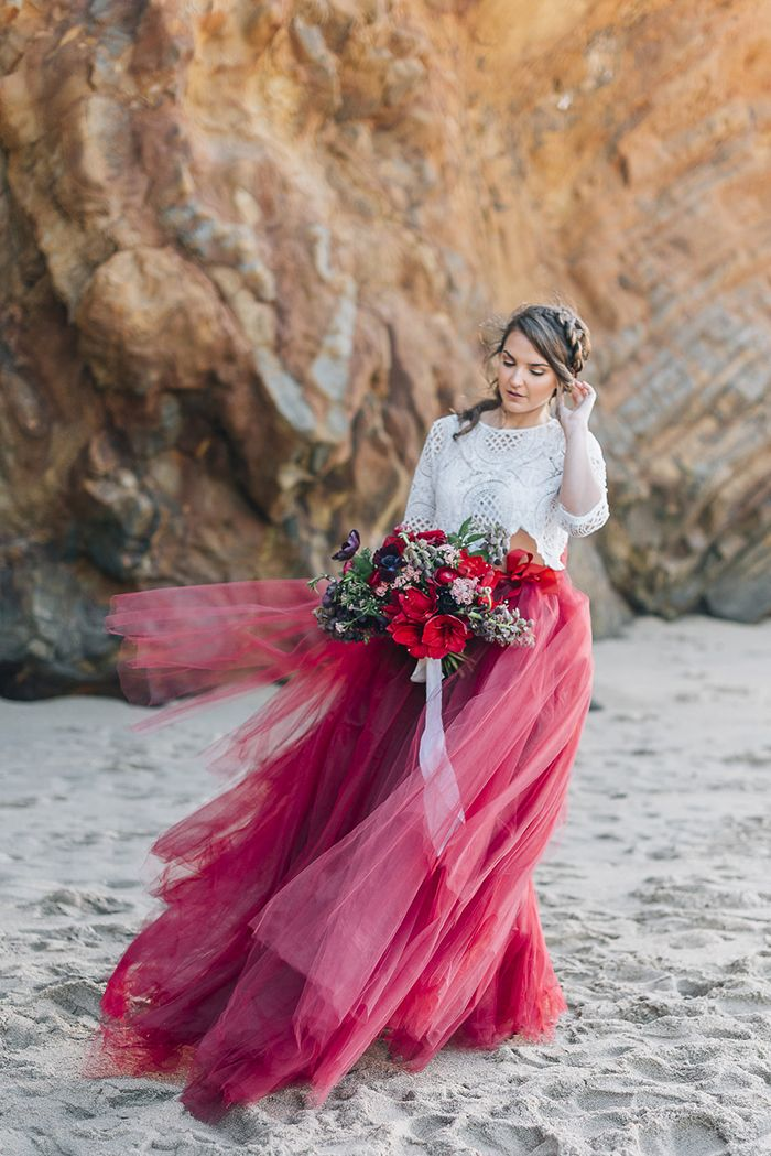 Colorful Tulle Bridal Skirt for a Bohemian Beach Wedding
