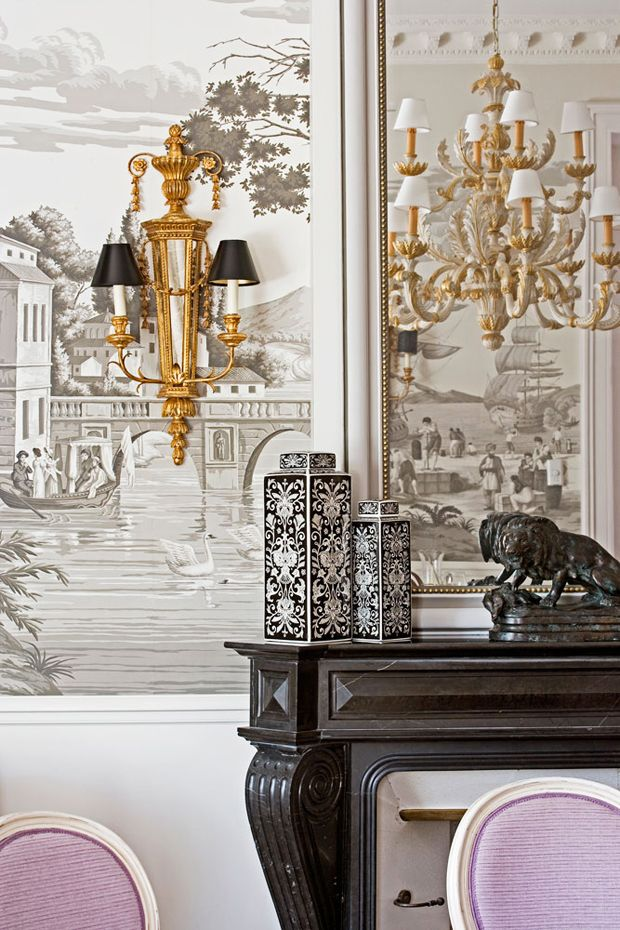 Add Art and Accessories. Hôtel du Lac. de Gournay wallpaper and gilded sconces.: Interiors, Murals, Wallpapers, Hotel, Lake