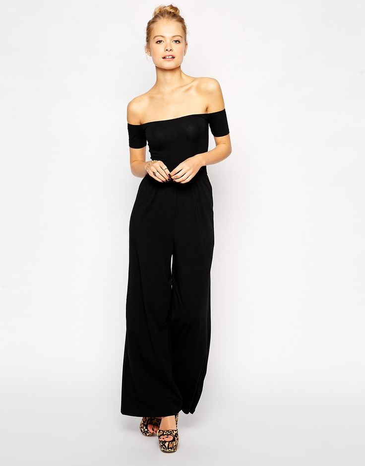 ASOS Bardot Jumpsuit With Wide Leg