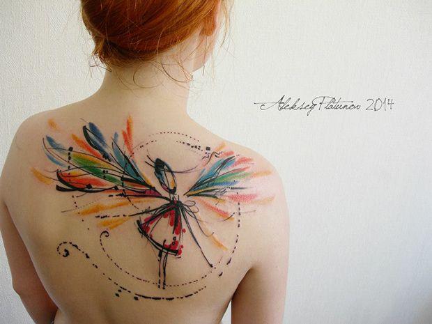 #tattoofriday - Aleksey Platunov, tattoos em aquarela, sketches e elementos geométricos;