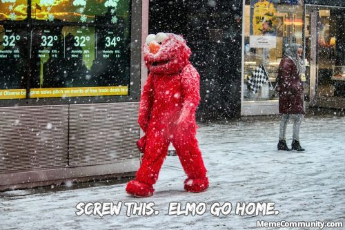 Guy in elmo costume, snowing and cold, joke, funny MEME