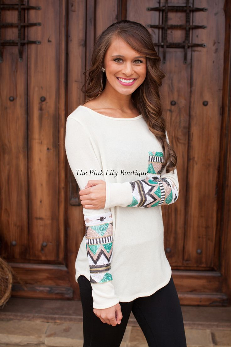The Pink Lily Boutique - The Lucky One Ivory Sequin Blouse, (http://thepinklilyboutique.com/the-lucky-one-ivory-sequin-blouse/)
