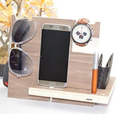 Wooden Phone Docking Station with Key Holder Pen Holder