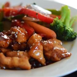 Sweet, Sticky and Spicy Chicken Allrecipes.com  Made this for dinner tonight and my son made me promise to put it on the favorites list.  FYI, use the review suggestion of flouring the chicken first.  The sauce thickened up nicely.