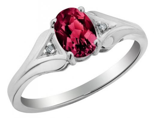 Angara Solitaire Double Claw Garnet Trinity Ring with Diamond vNGMmWB