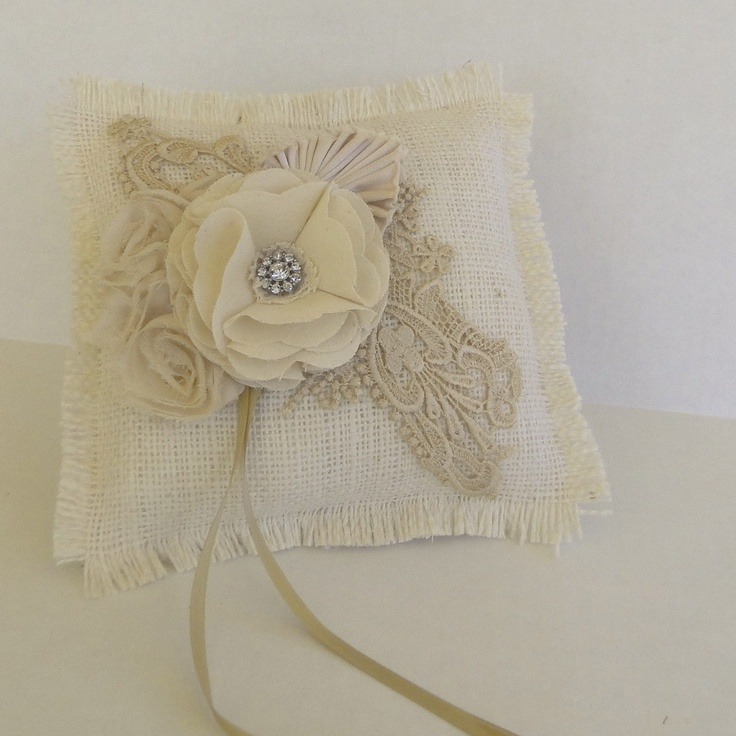 Burlap and lace wedding pillow, Old Hollywood wedding, vintage lace ring pillow.