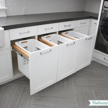 Built In Hampers, Transitional, laundry room, Sunny Side Up