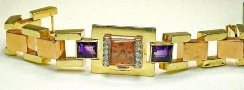 Vintage-14K-yellow-Pink-Gold-Diamond-Amethyst-ladies-OLLENDORF-Wrist-watch..