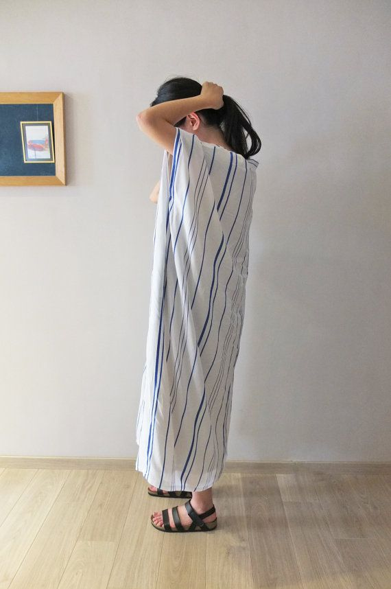 boho v-neck pinstripe maxi dress by Metaformose on Etsy